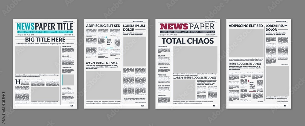 Fototapeta Newspaper column. Printed sheet of news paper with article text and headline publication design vector press templates