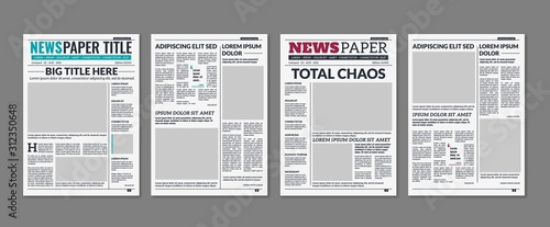 Fototapeta Newspaper column. Printed sheet of news paper with article text and headline publication design vector press templates obraz