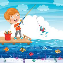 Happy Little Kid Fishing At Pier