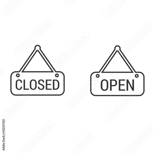 Fotografía store open closed sign icon vector illustration for graphic design and websites