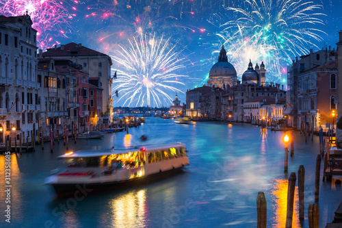 New Years firework display over Grand Canal in Venice, Italy