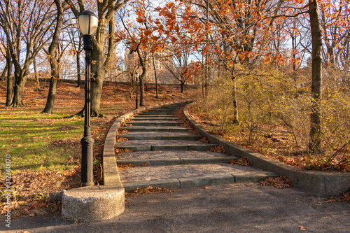 Curving Staircase at Riverside Park on the Upper West Side of New York City duri Wallpaper Mural