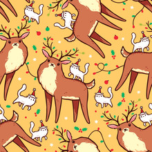 Seamless Pattern With Cute Rei...