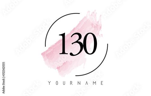 Tela  Number 130 Watercolor Stroke Logo Design with Circular Brush Pattern