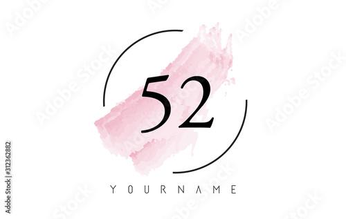 Fotografia  Number 52 Watercolor Stroke Logo Design with Circular Brush Pattern