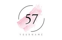 Number 57 Watercolor Stroke Logo Design With Circular Brush Pattern.