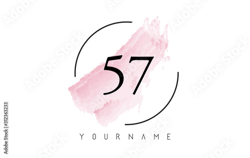 Number 57 Watercolor Stroke Logo Design with Circular Brush Pattern Canvas Print
