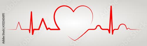 Valokuvatapetti Heartbeat line with shape of heart