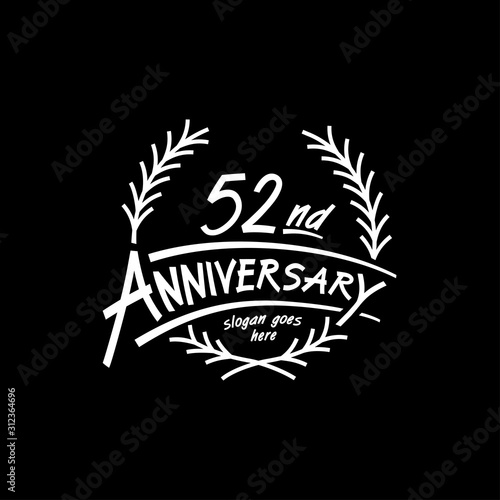 Fotografia  52 years design template. Vector and illustration. 52 years logo.