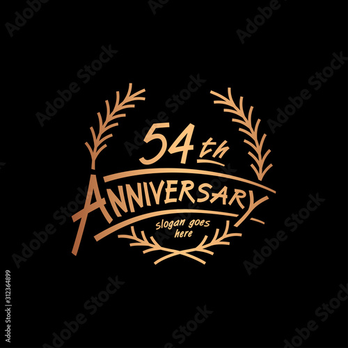 Tela  54 years design template. Vector and illustration. 54 years logo.