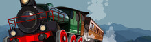 Cartoon Vintage Steam Train Ri...