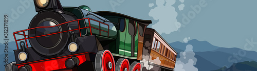cartoon vintage steam train rides on a background of mountains