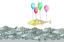 Funny Grey Fish On Wheels And Yellow Fish Flying On Balloons, Seamless, Watercolor.