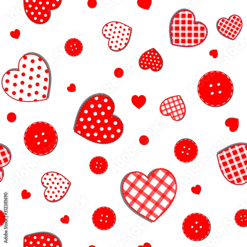 seamless-pattern-with-scattered-polka-dots-and-checkered-hearts-and-red-buttons