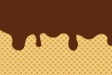 Ice Cream Cone Texture And Choccolate Melting.