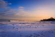 Pennsylvania state park in winter, shoreline of Lake Erie