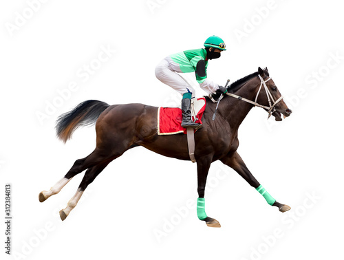 Stampa su Tela horse racing jockey isolated on white background