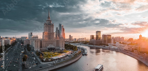 Moscow in winter and summer from a bird's eye view Wallpaper Mural