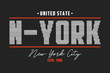 New York t-shirt design with knitted texture. Typography graphics for tee shirt with knit text slogan. Vector illustration.