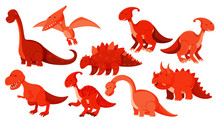 Large Set Of Different Types Of Dinosaurs In Red