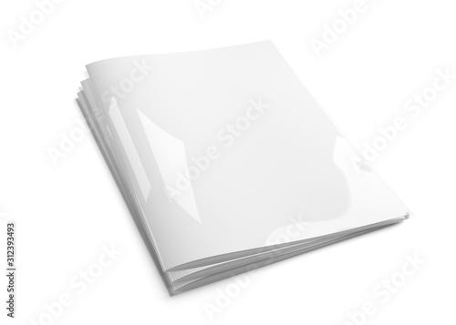 Fototapeta Cover magazine pile mockup isolated on white background 3d rendering