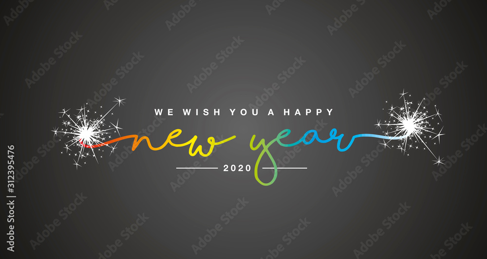 Fototapeta Happy New Year 2020 handwritten lettering tipography sparkle firework rainbow colorful white black background