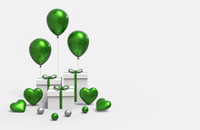 Gift Box Or White Present Box With Green Balloons Isolated On White Background. 3d Rendering