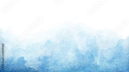 Vászonkép Blue azure turquoise abstract watercolor background for textures backgrounds and
