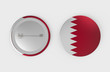 Qatar flag pin badge isolated on white background. 3d rendering