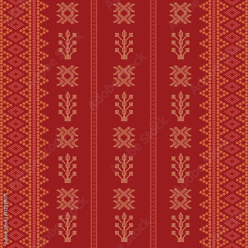 Batak ethnic seamless pattern motif ulos Canvas Print