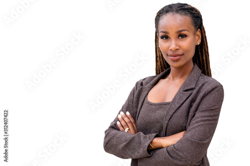 African American female company leader CEO boss executive standing confident wit Canvas Print