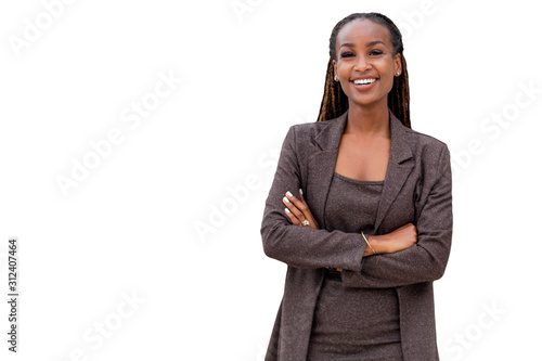 Beautiful african american business woman portrait, arms folded, confident happy CEO isolated on white background
