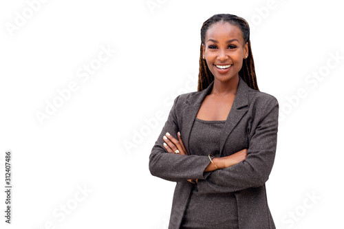 Canvastavla Portrait of a happy African American female company leader, CEO, boss, executive