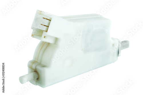 Fuel door lock actuator with electric connector, the car spare part isolated on a white background Canvas Print