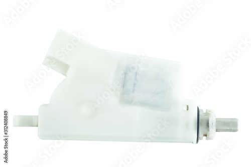 Photo Fuel door lock actuator with electric connector, the car spare part isolated on a white background unlable mock up