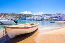 Mykonos Port With Boats, Cycla...