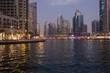 Night view of Dubai Marina district in Dubai