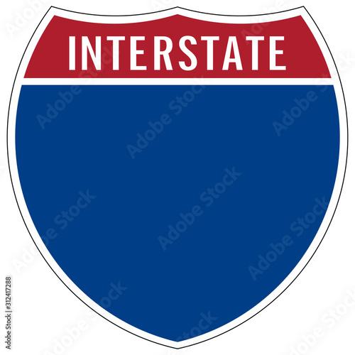 Fotografía  gz645 GrafikZeichnung - english - blank interstate highway road sign