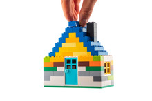 House Made Of Classic Building Blocks, White Studio Background.