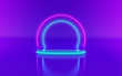 canvas print picture - 3d render, neon light, glowing lines, ultraviolet, stage, portal, round arch, pedestal, virtual reality, abstract background, round portal, arch, purple blue spectrum, vibrant colors, laser show