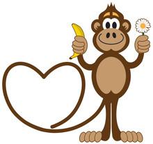 Cartoon Monkey In Love