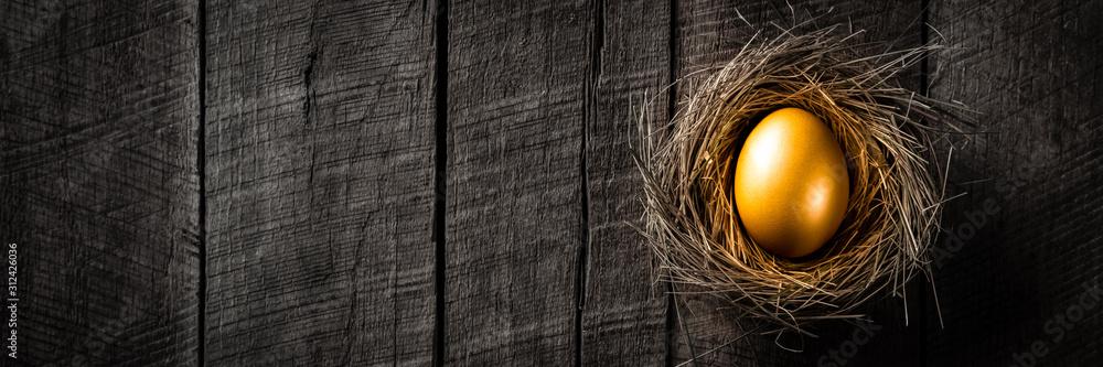 Fototapeta Banner Of Golden Nest Egg On Rustic Wooden Table Background - Investment Concept