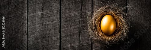 Cuadros en Lienzo Banner Of Golden Nest Egg On Rustic Wooden Table Background - Investment Concept