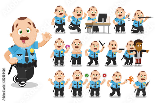 Fotografía Big vector cartoon set with mustached policeman in different situations