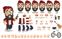 Cartoon Bearded Hipster Constructor For Animation. Parts Of Body, Set Of Poses, Objects.