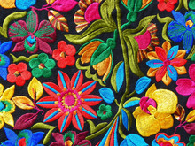 Close Up Of сolorful Embroidered Decorative Textile From Otavalo City At The Artisans Market
