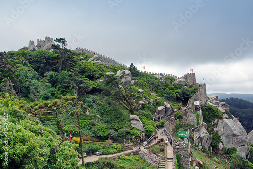 Fotografiet  Aerial view on the hilltop medieval moorish castle (Castle of the Moors) in Sint