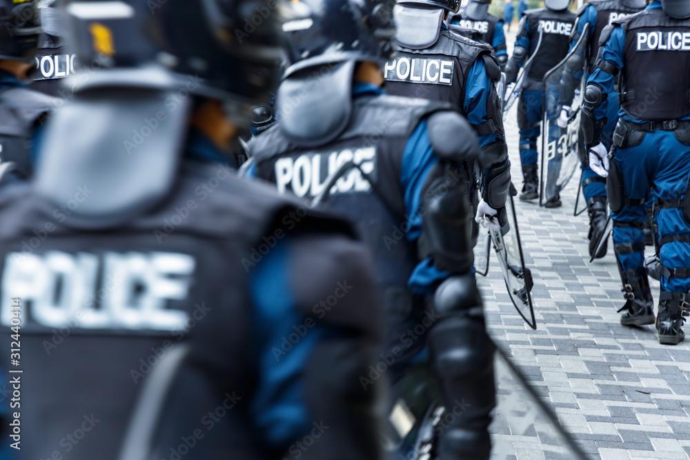 Fototapeta 街の平和を守る警察の機動隊
