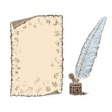 Hand Drawn Sheet Of Paper Scro...