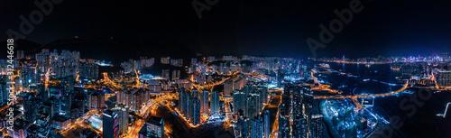 obraz PCV cyperpunk cityscape of urban area, Hong Kong